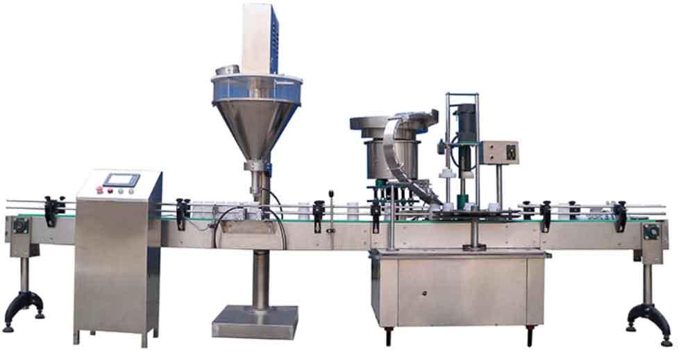 粉末全自动直线式联动线:YX-GX-F粉末灌装旋盖一体机(液晶触摸屏,自动灌装,自动上盖旋盖)