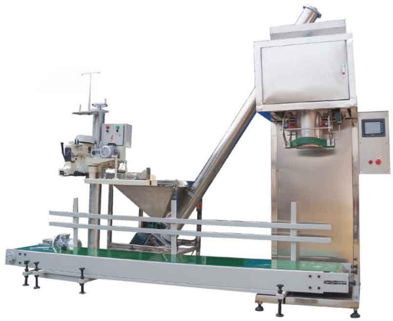 袋装粉体定量联动机组:上料机+称重BOB+输送装置+缝包装置