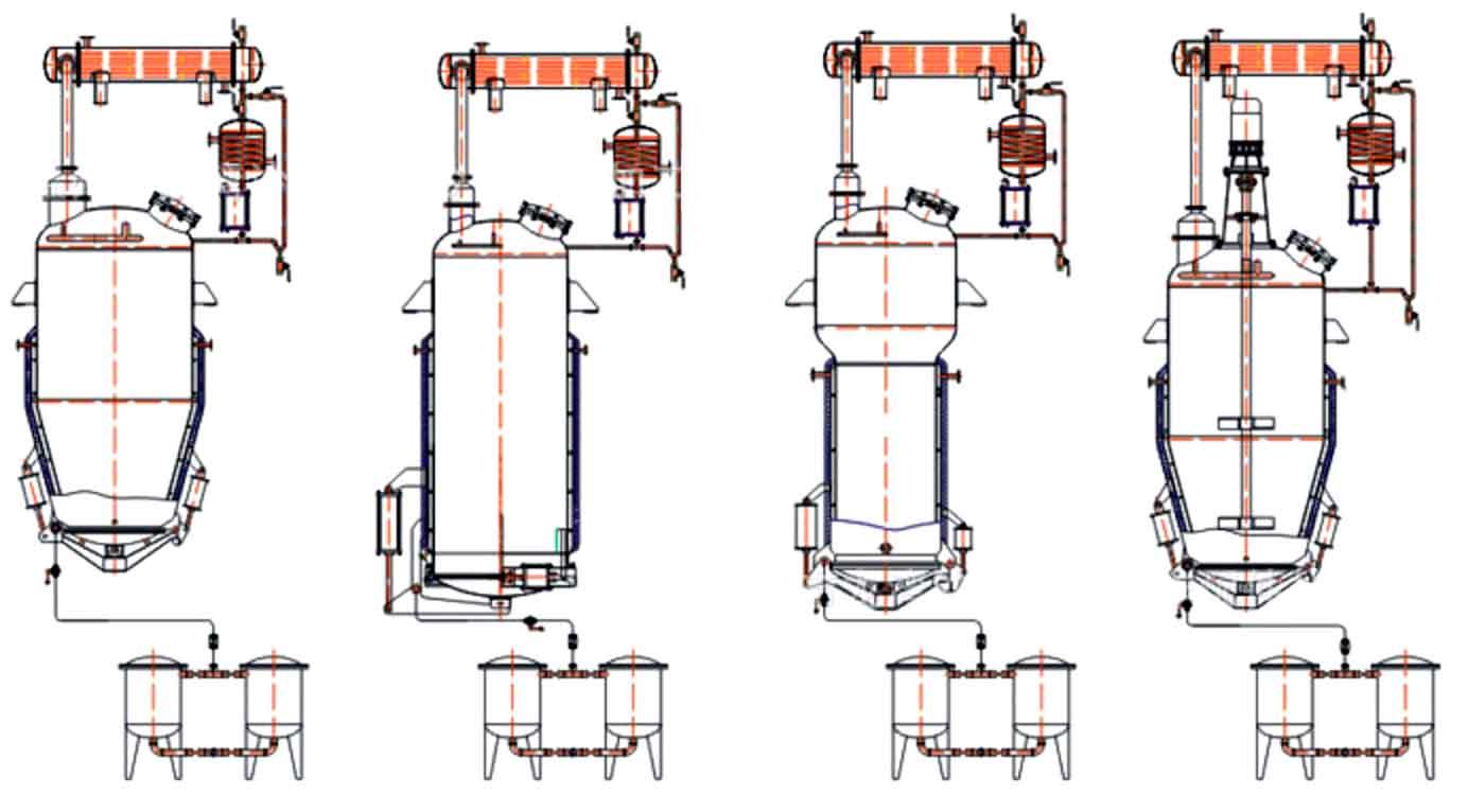 提取罐分类:蘑菇型提取罐、直筒型提取罐、直锥型提取罐